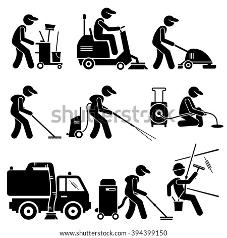 Industrial Cleaning Worker with Tools and Equipment Stick Figure Pictogram Icons - stock vector