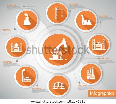 Industrial Concept,Infographics,Orange version,vector - stock vector