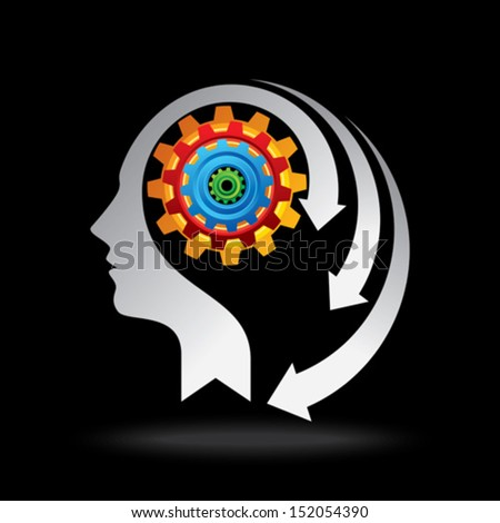 industrial concept with human head - stock vector