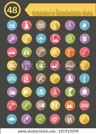 Industrial & Construction Icons,Colorful version,vector - stock vector