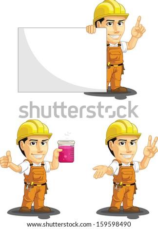 Industrial Construction Worker Customizable Mascot 6 - stock vector