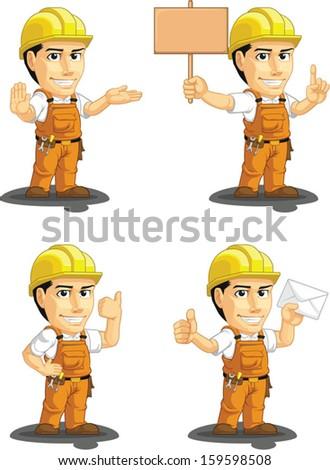 Industrial Construction Worker Customizable Mascot 4 - stock vector