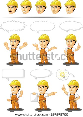 Industrial Construction Worker Customizable Mascot 17  - stock vector