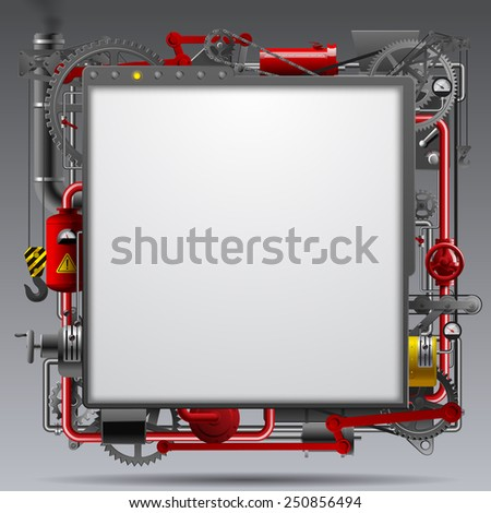 Industrial design template with complex machinery. Vector illustration - stock vector