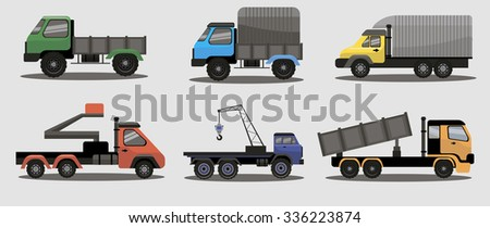 Industrial different types of vector  freight and lifting vehicles image design set for your illustration, decoration, labels, stickers and other creative needs.  - stock vector