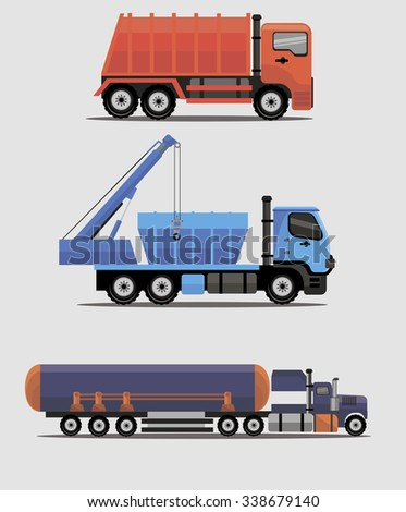 Industrial different types of vector  vehicles image design set for your illustration, decoration, labels, stickers and other creative needs.  - stock vector