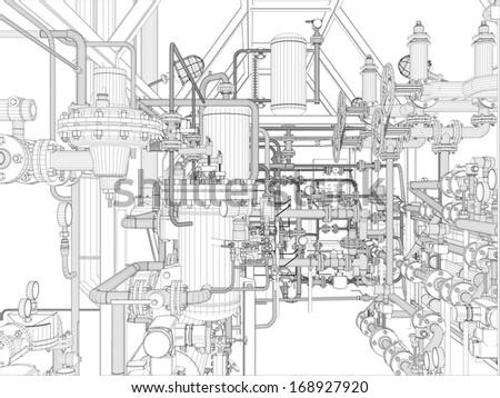 Industrial equipment. Wire-frame. Vector EPS10 format. Vector rendering of 3d - stock vector