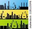 Industrial factory and crane construction site landscape silhouette illustration collection background vector - stock vector