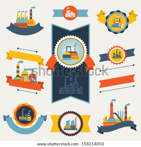 Industrial factory buildings banners, ribbons and badges. - stock vector