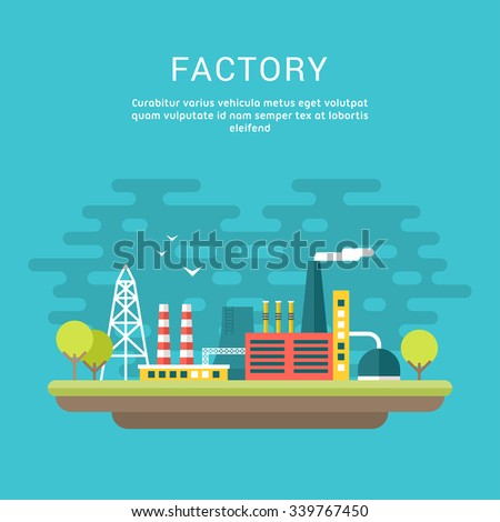 Industrial Factory Buildings. Flat Style Vector Conceptual Illustrations for Web Banners or Promotional Materials - stock vector