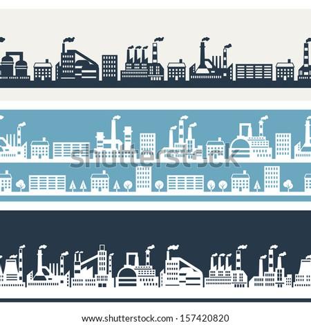 Industrial factory buildings horizontal banners. - stock vector