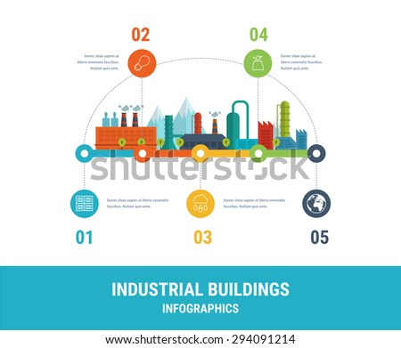 Industrial factory buildings illustration timeline infographic elements flat design.  - stock vector