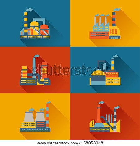 Industrial factory buildings in flat design style. - stock vector