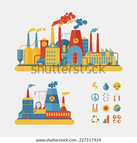 Industrial factory buildings set in flat design style - stock vector