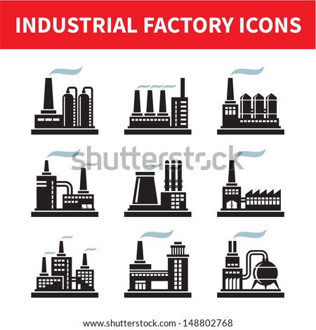 Industrial Factory Icons - Vector Set. Factory and plant illustration. Design elements. - stock vector