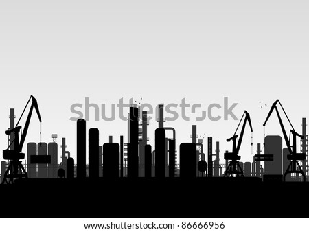 Industrial factory landscape background illustration - stock vector