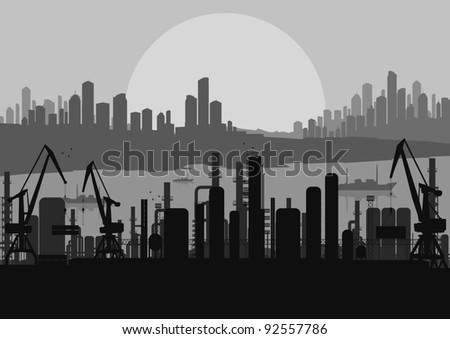 Industrial factory landscape skyline background illustration vector - stock vector
