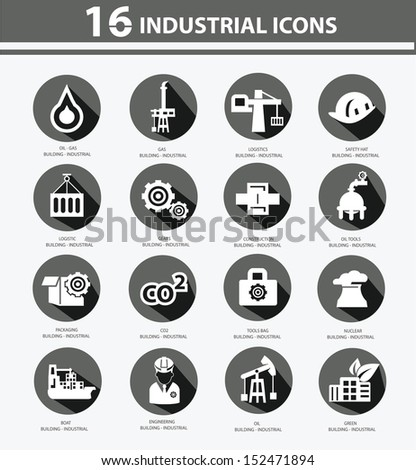 Industrial,Factory,plants and pollution icons,Black version - stock vector