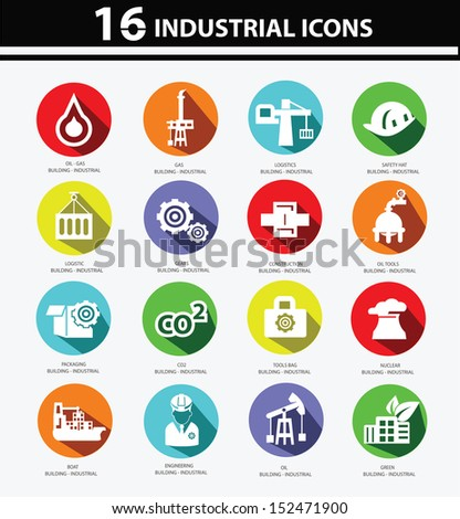 Industrial,Factory,plants and pollution icons,Colorful version - stock vector