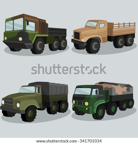 Industrial freight military vehicles vector image design set for your illustration, decoration, labels, stickers and other creative needs.  - stock vector