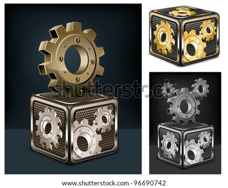 Industrial gears in cube on black, mechanical vector illustration - stock vector