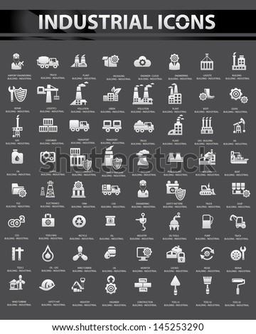 Industrial icon set,Black background version,vector - stock vector