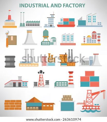 Industrial icon set design,clean vector - stock vector