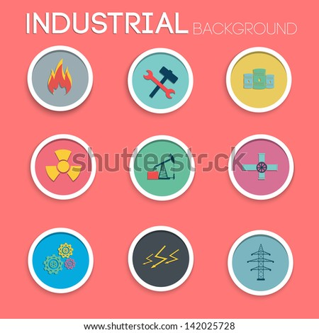 Industrial icon set. Flat style. Vector Illustration, eps10, contains transparencies. - stock vector