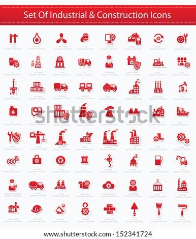 Industrial icon set,Red version,vector - stock vector