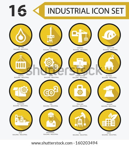 Industrial icon set,Yellow version 01,vector - stock vector