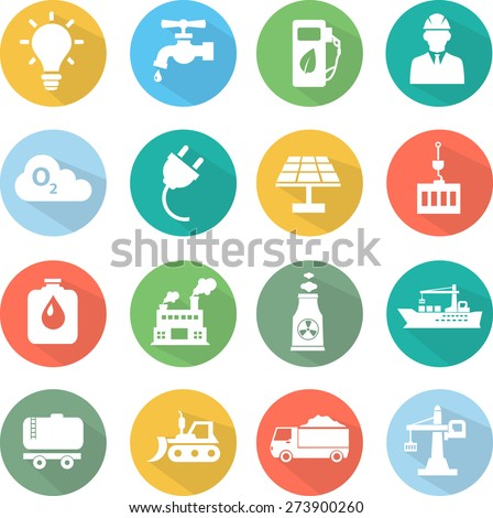 industrial icons in flat style - stock vector