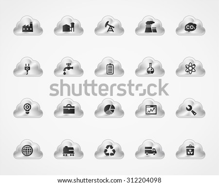 Industrial icons on metallic cloud buttons