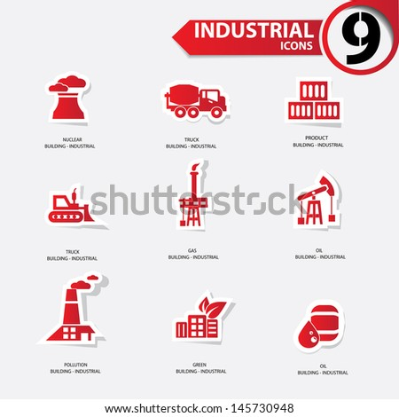 Industrial icons,Red version,vector - stock vector