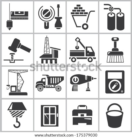 industrial icons set, construction icons
