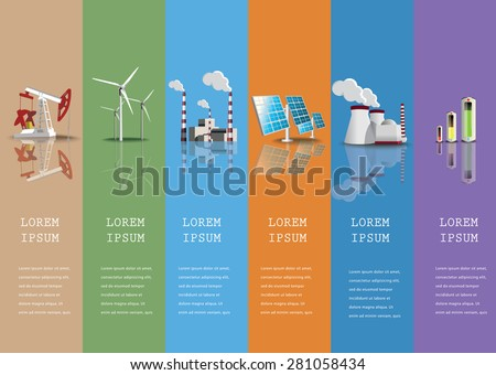 Industrial icons  set power plants and  factories vector illustration. - stock vector