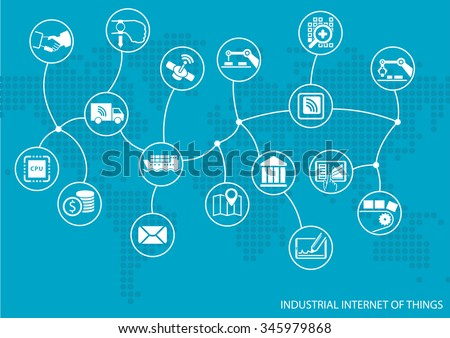 Industrial internet of things (IOT) concept. World map of connected value chain of goods including business process automation - stock vector