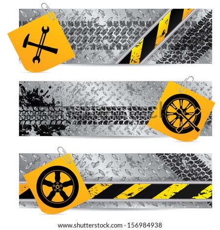 Industrial label set of three with notepapers  - stock vector