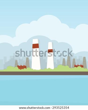 industrial landscape cartoon image - stock vector