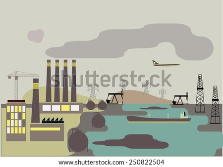 Industrial landscape. Plant or factory. Ecology. Pollution. Vector flat illustration - stock vector