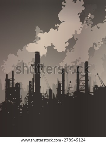 industrial landscape with smoking chimneys