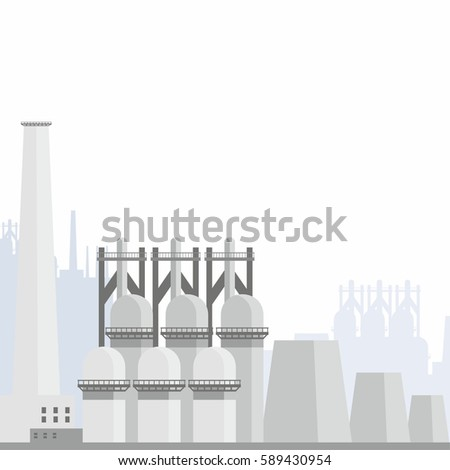 Industrial landscape with the image of a large metallurgical plant. Vector background.
