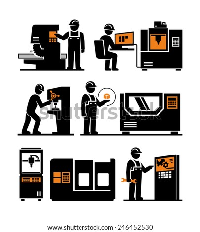 Industrial machine worker operator vector icons  - stock vector