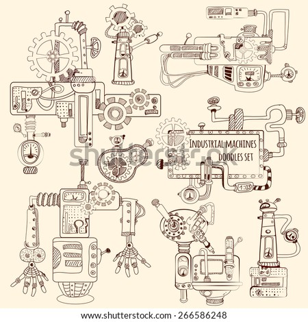 Industrial machines engines and robots doodles set isolated vector illustration - stock vector