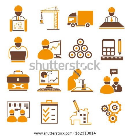 industrial management icons, engineering icons, orange color theme - stock vector