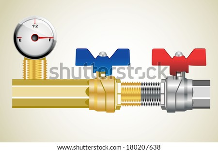 Industrial pipeline and Gas valve. - stock vector