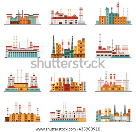 Industrial plant and factory with chimney set of icons in cartoon style. Hydro, nuclear, thermal, chemical, petrochemical dirty and heavy energy production from fuel polluting nature and environment. - stock vector