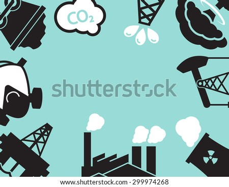 Industrial  Plant or factory. Ecology.Pollution. - stock vector