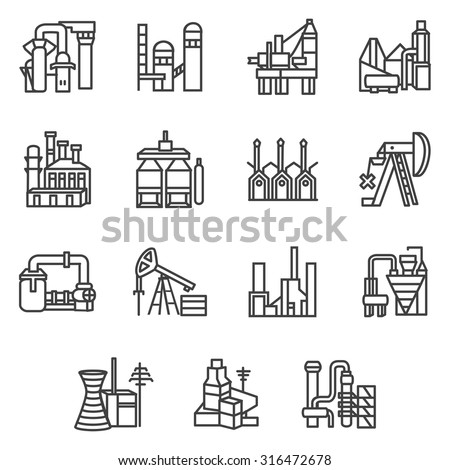 Industrial plants and factories flat line design vector icons set with oil extraction, fuel, electricity and energy industry symbols for business or website. - stock vector