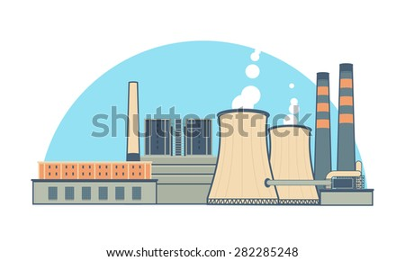 Industrial Power Plant - stock vector