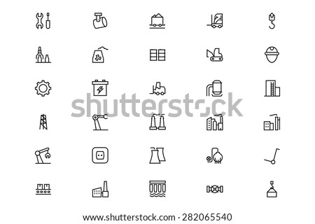 Industrial Processes Line Vector Icons 2 - stock vector